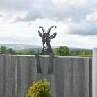 Goat Leaning Fence Topper on a Garden Fence