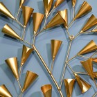Gold Cone Leaf Design on the Wall Art