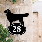 Bespoke Golden Retriever Iron House Number Sign in Situ