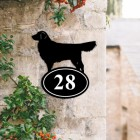 Golden Retriever Iron House Number Sign Created Out of Iron