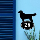 Golden Retriever Iron House Number Sign on a Blue Wall