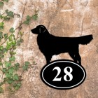 Golden Retriever Iron House Number Sign in Situ on a Rustic Wall