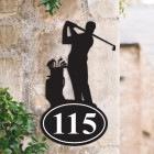 Bespoke Golfer Iron House Number Sign in Situ