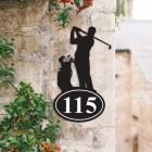 Bespoke Golfer Iron House Number Sign on a Garden Wall