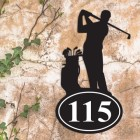 Golfer Iron House Number Sign in Situ on a Rustic Wall