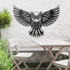 """""""Great Horned Owl"""" Wall Art in Use Above a Wooden Table & Chair Set"""