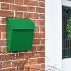 Green Contemporary Postbox in Situ on a Brick Wall