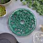 Green Heavy Duty Round Trivet Created From Cast Iron