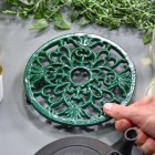 Green Heavy Duty Cast Iron Round Trivet to Scale