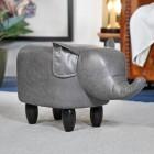 Grey Elephant Leather Stool in Situ