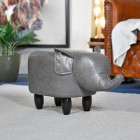 Elephant Stool Created Out of Grey Leather