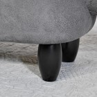View of the Wooden Legs on the Grey Elephant Leather Stool
