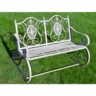 Antique Grey Ornate Rocking Bench