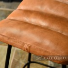 Close-up of the Natural Brown Buffalo Leather Bar Stool