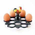 Hand Painted Rooster 12 Egg Holder
