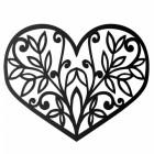 Flower Foliage Heart Wall Art in Black