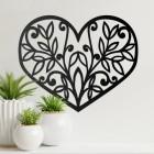 Flower Foliage Heart Wall Art on Cream Wall Beside Plants