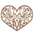Flower Foliage Heart Wall Art in a Rustic Brown Finish