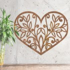 Flower Foliage Heart Wall Art on a Rustic Wall