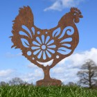 Rustic Floral Hen Silhouette