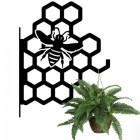 Honeycomb Bee Hanging Basket Bracket Holding a Flower Basket