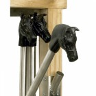 Close up of Wall Mounted equestrian Boot rack with horse heads