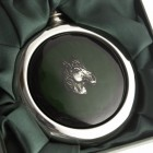 Close-up of the Horse Design Whiskey Flask