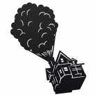 Floating House on Balloons Steel Wall Art in a Black Finish