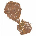 Floating House on Balloons Steel Wall Art in a Rustic Finish