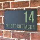 "Pale Green ""Albert"" House Sign in Situ on the Wall"