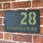 """Pale Green """"Smithfield"""" House Sign in Situ on the Wall"""