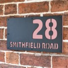 "Light Pink ""Smithfield"" House Sign in Situ on the Wall"