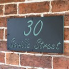 """""""Saville"""" House Sign Finished in a Pastel Turquoise"""