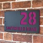 "Purple ""Smithfield"" House Sign in Situ on the Wall"
