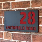 """Signal Red """"Smithfield"""" House Sign in Situ on the Wall"""