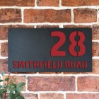 """""""Smithfield"""" House Sign Finished in a Signal Red"""