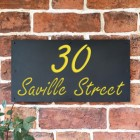 """""""Saville"""" House Sign Finished in a Zinc Yellow"""