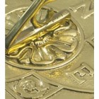 Close up of brass detail on sundial
