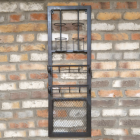 Industrial Iron Wine Bottle & Glass Holder in Situ on a Brick Wall