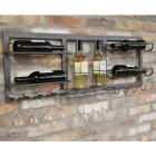 Iron Wine Bottle & Glass Holder in Situ on a Brick Wall
