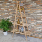 Interior Natural Wooden Triangular Four Tier Shelf