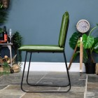 Side View of the Iron & Buffalo Leather Dining Chair