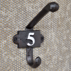 Cast Iron Coat Hook with the Number 5