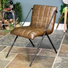 Contemporary Chair Finished in Black Iron & Dark Olive Green Buffalo Leather