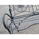 Rustic Iron Flower Scrolled Garden Bench