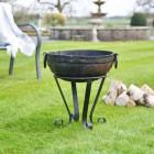 40cm Iron Kadai Fire Bowl in Situ in the garden