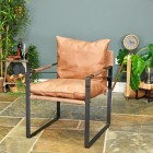 Iron & Natural Brown Buffalo Leather Relax Chair in Situ in the Living Room