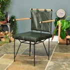 Iron & Olive Green Buffalo Leather Directors Chair  in Situ in the Living room