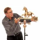 Polished Copper Weathervane Horse Motif