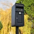 King George Rex Black Period Post Box in the Garden
